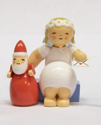 Wendt /& Kühn Margeritenengel Sitzend mit Weihnachtsmann 634//70//29