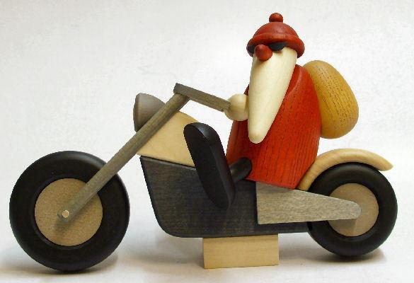 bj rn k hler weihnachtsmann auf motorrad holz kunst. Black Bedroom Furniture Sets. Home Design Ideas