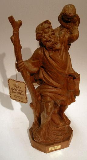 Holzfigur heiliger Christopherus, Holzschnitzerei - Holz